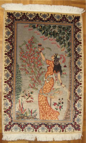 Omar Khayyam women Tabriz Persian Carpet hand made Rug