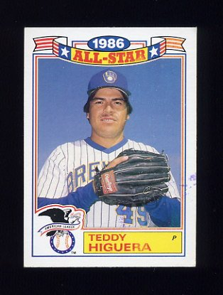 1987 Topps Baseball Glossy All-Stars #22 Teddy Higuera - Milwaukee Brewers