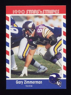 1990 Fleer Stars and Stripes Football #65 Gary Zimmerman - Minnesota Vikings