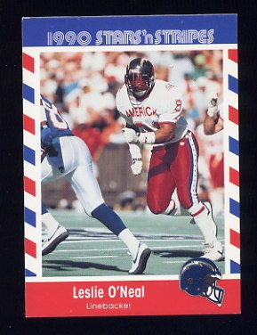 1990 Fleer Stars and Stripes Football #37 Leslie O'Neal - San Diego Chargers