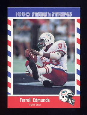 1990 Fleer Stars and Stripes Football #31 Ferrell Edmunds - Miami Dolphins