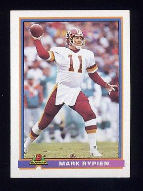 1991 Bowman Football #531 Mark Rypien - Washington Redskins