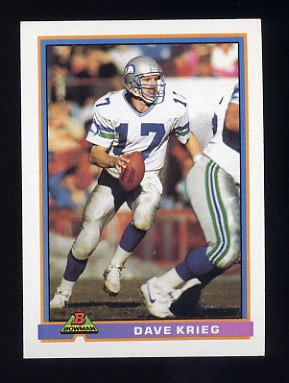 1991 Bowman Football #500 Dave Krieg - Seattle Seahawks