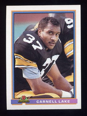 1991 Bowman Football #445 Carnell Lake - Pittsburgh Steelers