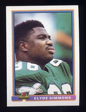 1991 Bowman Football #411 Clyde Simmons - Philadelphia Eagles