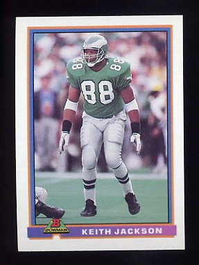 1991 Bowman Football #396 Keith Jackson - Philadelphia Eagles