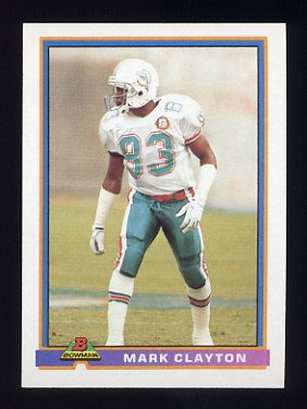 1991 Bowman Football #286 Mark Clayton - Miami Dolphins