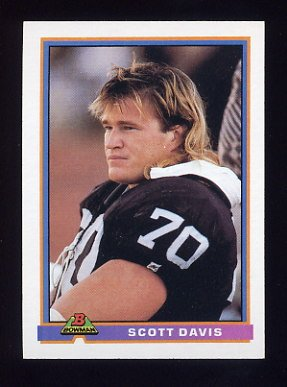 1991 Bowman Football #250 Scott Davis - Los Angeles Raiders