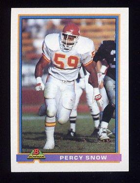 1991 Bowman Football #219 Percy Snow - Kansas City Chiefs