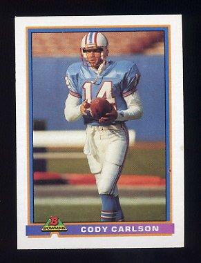1991 Bowman Football #193 Cody Carlson RC - Houston Oilers