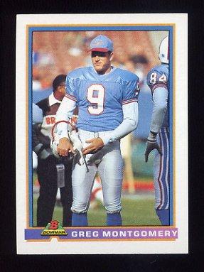1991 Bowman Football #192 Greg Montgomery - Houston Oilers