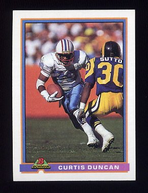 1991 Bowman Football #182 Curtis Duncan - Houston Oilers