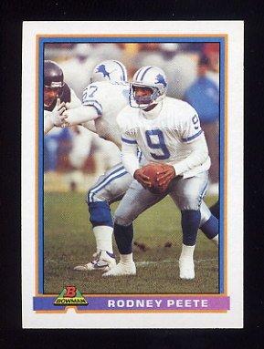 1991 Bowman Football #150 Rodney Peete - Detroit Lions