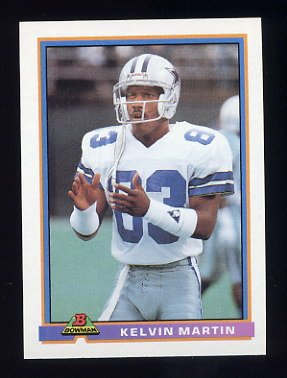 1991 Bowman Football #116 Kelvin Martin - Dallas Cowboys