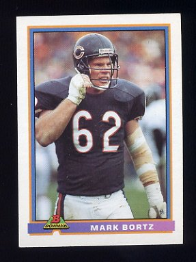 1991 Bowman Football #070 Mark Bortz - Chicago Bears