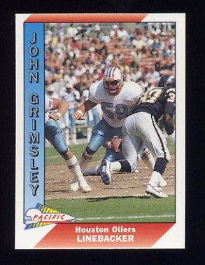 1991 Pacific Football #186B John Grimsley - Houston Oilers