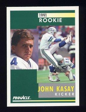 1991 Pinnacle Football #311 John Kasay RC - Seattle Seahawks