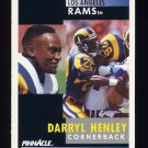 1991 Pinnacle Football #063 Darryl Henley RC - Los Angeles Rams