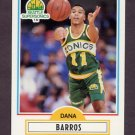 1990-91 Fleer Basketball #175 Dana Barros RC - Seattle Supersonics
