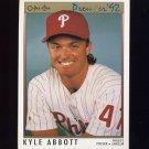 1992 O-Pee-Chee Premier Baseball #185 Kyle Abbott - Philadelphia Phillies