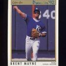 1992 O-Pee-Chee Premier Baseball #040 Brent Mayne - Kansas City Royals