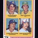 1978 Topps Baseball #709 Steve Burke / Matt Keough / Lance Rautzhan and Dan Schatzeder