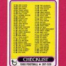 1980 Topps Football #509 Checklist 397-528