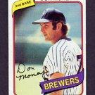 1980 Topps Baseball #595 Don Money - Milwaukee Brewers Vg