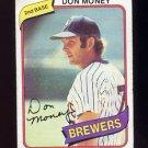 1980 Topps Baseball #595 Don Money - Milwaukee Brewers G