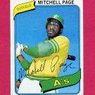 1980 Topps Baseball #586 Mitchell Page - Oakland A's Vg