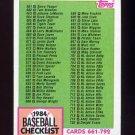1984 Topps Baseball #781 Checklist 661-792