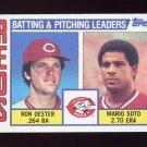 1984 Topps Baseball #756 Cincinnati Reds TL Ron Oester / Mario Soto / Team Checklist