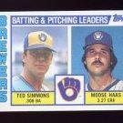 1984 Topps Baseball #726 Milwaukee Brewers TL Ted Simmons / Moose Haas / Team Checklist