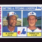 1984 Topps Baseball #516 Montreal Expos TL Al Oliver / Charlie Lea / Team Checklist