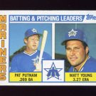 1984 Topps Baseball #336 Seattle Mariners TL Pat Putnam / Matt Young / Team Checklist