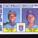1984 Topps Baseball #096 Kansas City Royals TL Hal McRae / Larry Gura / Team Checklist
