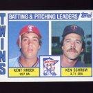 1984 Topps Baseball #011 Minnesota Twins TL Kent Hrbek / Ken Schrom / Team Checklist