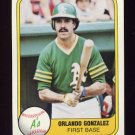 1981 Fleer Baseball #585 Orlando Gonzalez - Oakland A's