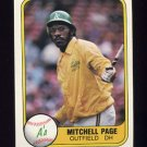 1981 Fleer Baseball #580 Mitchell Page - Oakland A's