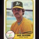 1981 Fleer Baseball #576 Dave Revering - Oakland A's