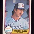 1981 Fleer Baseball #264 Preston Hanna - Atlanta Braves