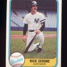 1981 Fleer Baseball #083 Rick Cerone - New York Yankees