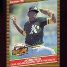 1986 Donruss Highlights Baseball #02 Jose Rijo - Oakland A's