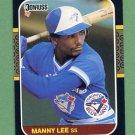 1987 Donruss Baseball #518 Manny Lee - Toronto Blue Jays