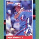 1988 Donruss Baseball #257 Mitch Webster - Montreal Expos
