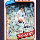 1980 Topps Baseball #089 Don Hood - New York Yankees