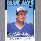 1986 Topps Baseball #471 Bobby Cox MG / Toronto Blue Jays Team Checklist