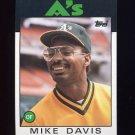1986 Topps Baseball #165 Mike Davis - Oakland A's