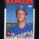 1986 Topps Baseball #079 Dave Schmidt - Texas Rangers