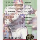 1994 Ultra Football #523 Checklist